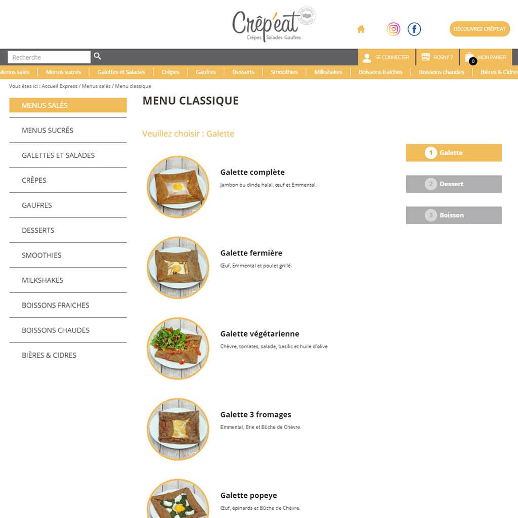 Création de menu Click & Collect Crêp'eat