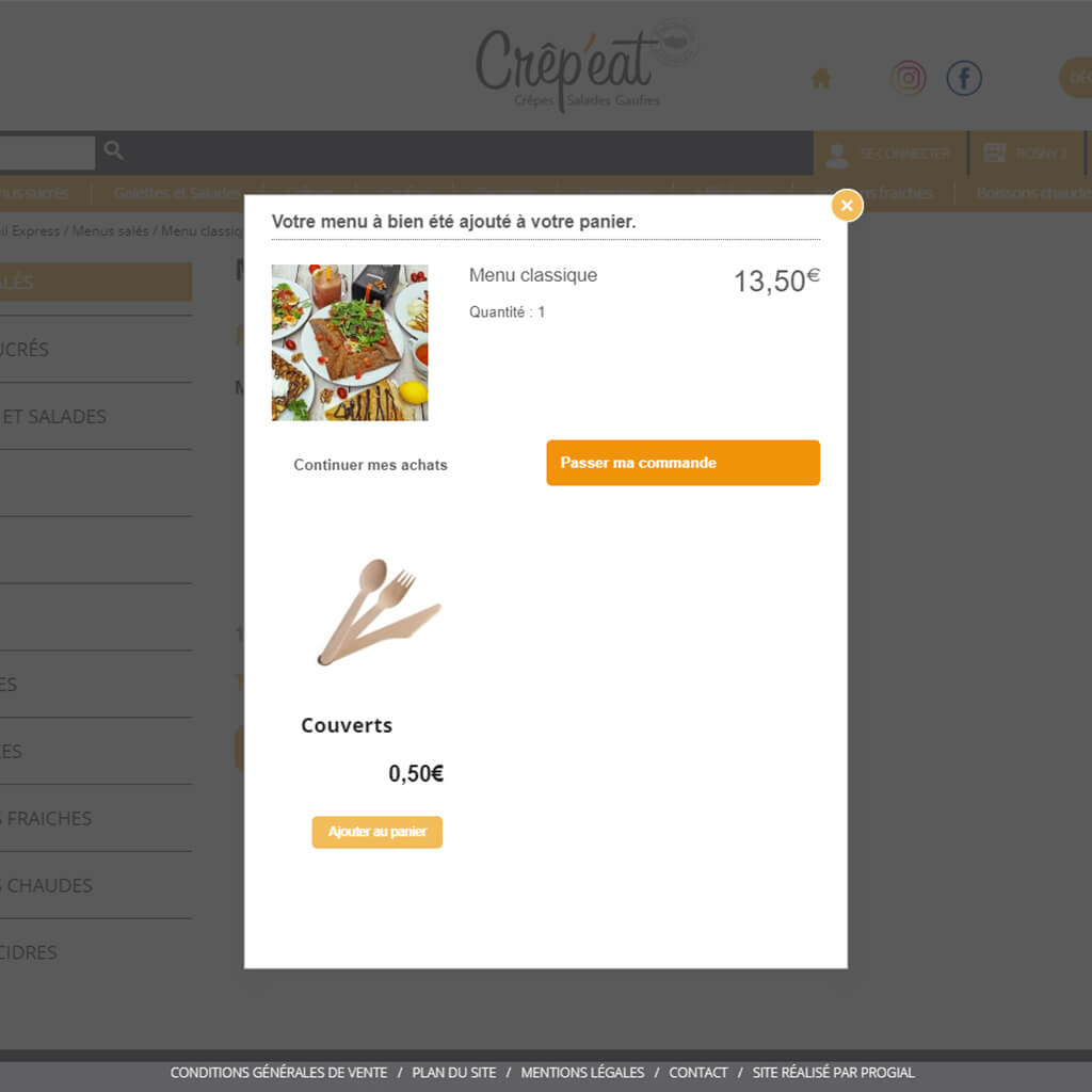 Ventes croisées Click & Collect Crêp'eat