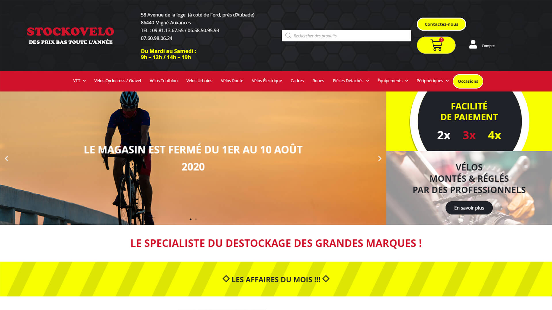 Page d'accueil Stockovelo