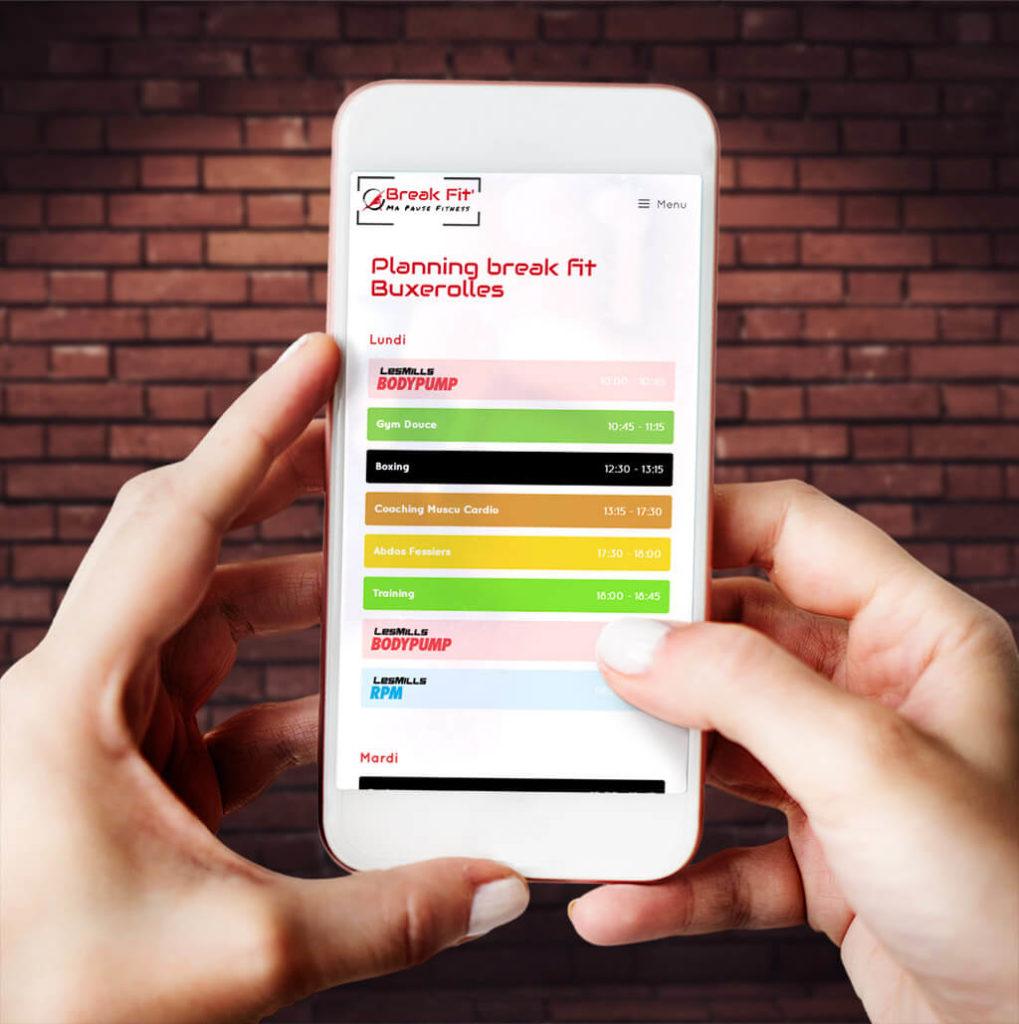 Planning du site Breakfit à Poitiers sur mobile