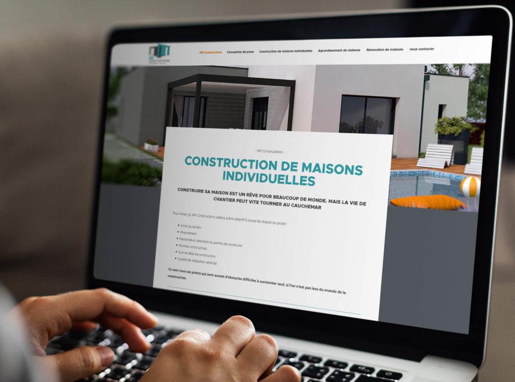 Présentation du site MP Constructions sur ordinateur