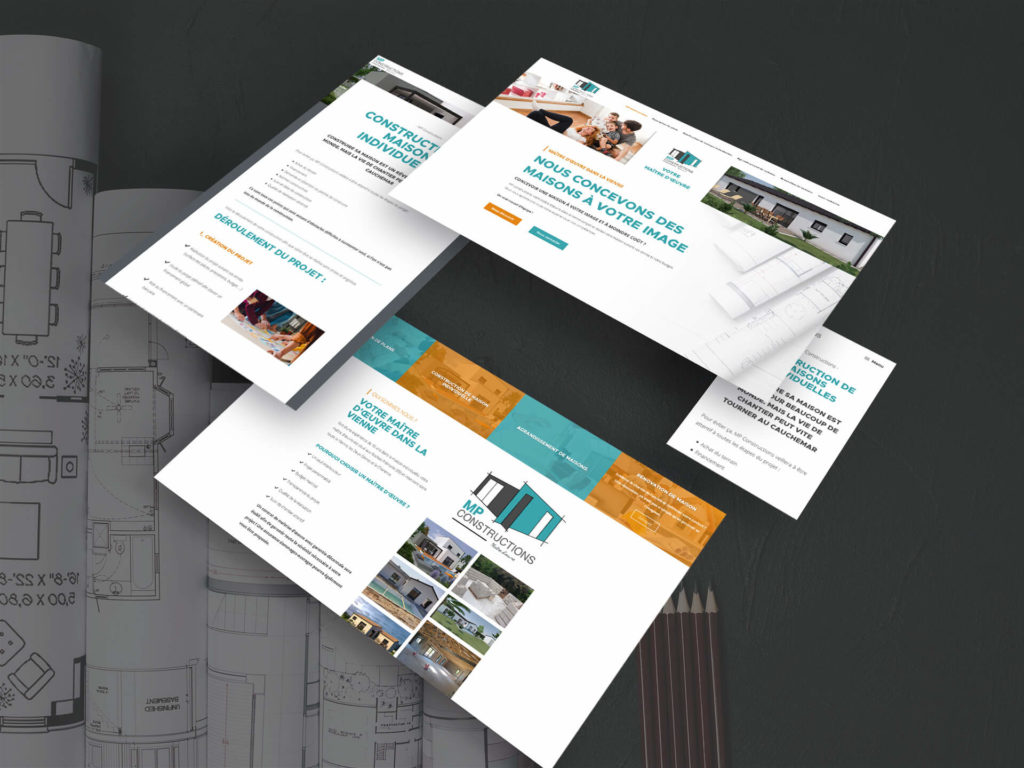 Présentation du site MP Constructions sur différentes tailles d'écrans