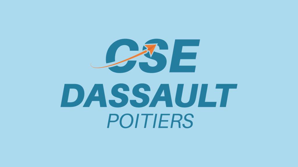 logotype entier sur fond bleu clair, CSE Dassault Poitiers
