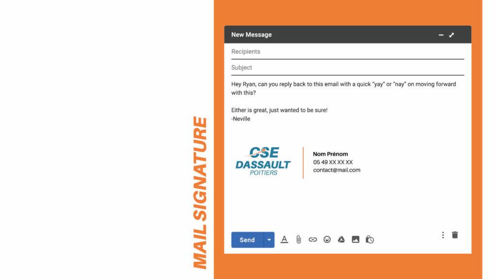 design de signature de mail pour les employés du CSE de Dassault Poitiers