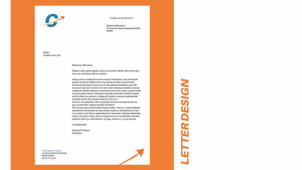 design d'une entête de papier officiel pour le CSE de Dassault Aviation Poitiers
