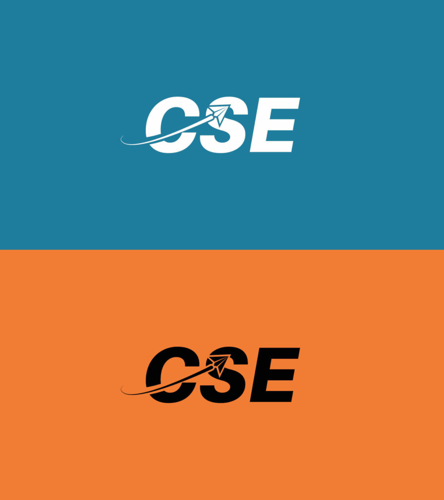 logotype avec écrit CSE uniquement sur fond orange, en noir  logotype avec écrit CSE uniquement sur fond bleu, en blanc