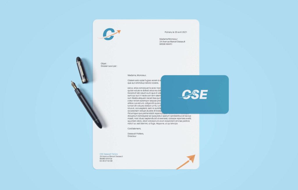 simulation par mockup d'une entête de papier officiel pour le CSE Dassault Poitiers et d'une carte de visite