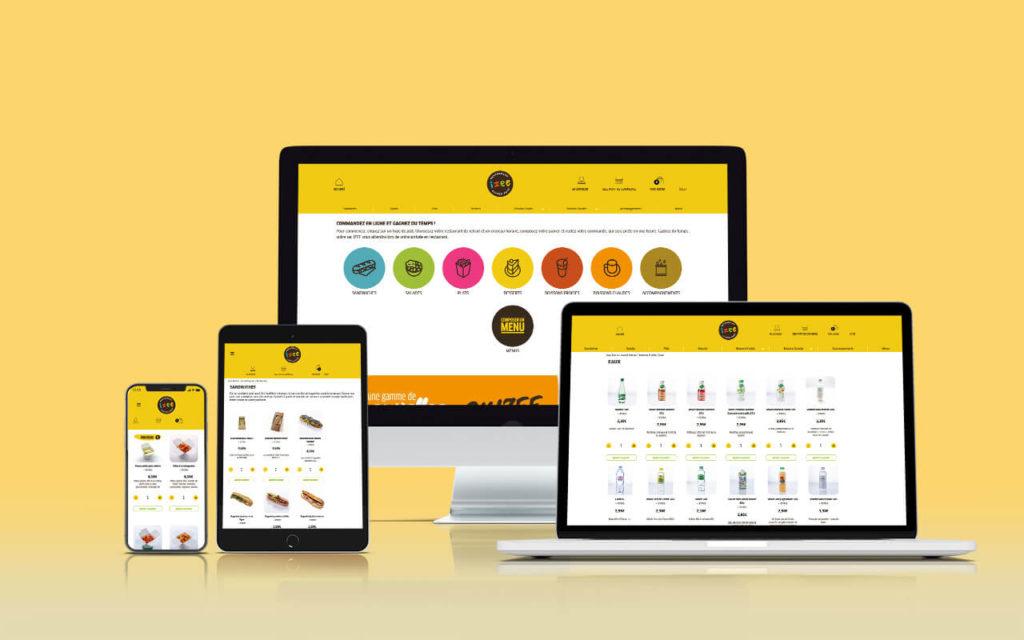 mockup responsive imac iphone ipad et macbook avec visuels du site à l'intérieur